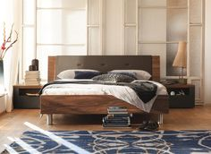 Double bed / contemporary / with upholstered headboard / high-gloss - TIME - NOW! By Hülsta