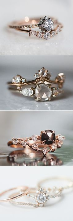 of the most beautiful jewelry pieces are inspired by the world around us. - Some of the most beautiful jewelry pieces are inspired by the world around us. Taking a look at sig -Some of the most beautiful jewelry pieces are inspired by the wor. Wedding Rings Vintage, Vintage Rings, Wedding Jewelry, Wedding Bands, Unique Vintage, Bling Wedding, Wedding Engagement, Hair Wedding, Vintage Diamond
