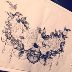 Resultado de imagem para beautiful skull tattoos for women Hai Tattoos, Body Art Tattoos, Spine Tattoos, Women Sternum Tattoo, Celtic Tattoos, Sternum Tattoo Design, Rose Underboob Tattoo, Floral Skull Tattoos, Lace Flower Tattoos