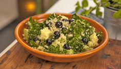 Kale, Quinoa and Blueberry Salad with Coconut Dressing