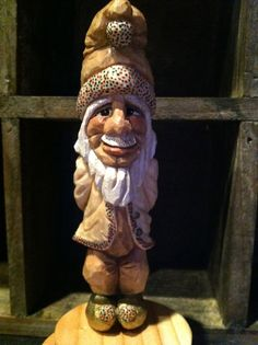 Santa's elf hand carved by Chickanwhittle