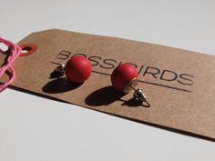 Matt Chery Red Stud Earrings polymer clay colourful by Bossibirds