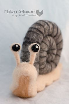 Large Needle Felted Snail made of 100 wool by ahippiewithaminivan, $97.00. A Hippie with a Mini Van [Canada] - https://www.etsy.com/shop/ahippiewithaminivan #snail #needlefelted