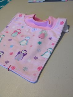 Pink Penguin Pop-Over Bib by BabyBubbaSteps on Etsy