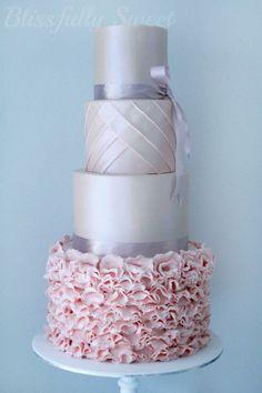 Pink, White & Silver Wedding Cake