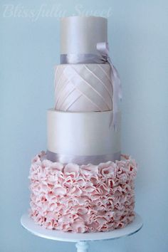 #Light pink and silver wedding cake ... Wedding ideas for brides, grooms, parents & planners ... https://itunes.apple.com/us/app/the-gold-wedding-planner/id498112599?ls=1=8 … plus how to organise an entire wedding ♥ The Gold Wedding Planner iPhone App ♥ http://pinterest.com/groomsandbrides/boards/