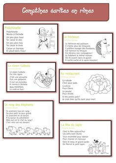 Dossier COMPTINES pour jouer avec les syllabes, les phonèmes Teaching Kids, Kids Learning, French Poems, French Education, Music Ed, Baby Gym, Teaching French, Sensory Bins, Teacher Hacks