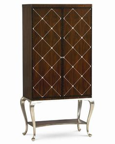 Rich rosewood, zebrawood, and walnut veneers, decorated with a graphic silver design that was inspired by a wallpaper motif, adorn the door fron… – furniture Muebles Caracole, Caracole Furniture, Unique Furniture, Luxury Furniture, Home Furniture, Furniture Design, Muebles Art Deco, Wine Cabinets, Tall Cabinets