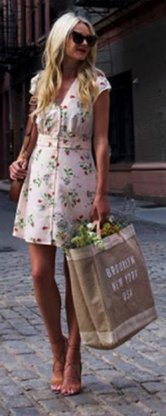 Blair Eadie + epitome of summer + girly floral dress + statement sunglasses + dainty heels + lovely tanned bag + perfect aesthetic for the summer!   Dress/Shoes/Sunglasses: Nordstrom, Bag: Gucci