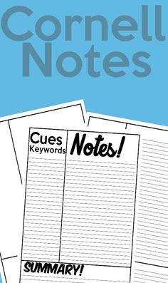 Here is a great way to for students to take notes and stay organized! The Cornell method of note taking offers many advantages.Students will be able to quickly and identify key words and key concepts from a lecture. The notes they make can easily be used as a study guide for exam preparation. The arrangement of information is aesthetically pleasing and easy to scan, making it easy to locate particular pieces of information.