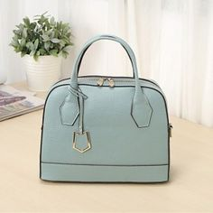 Double Zip Mini Tote Shoulder Bag Genuine Leather