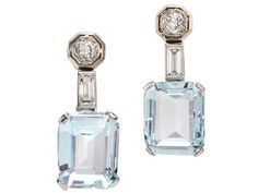 Late Art Deco Aquamarine Diamond Earrings - The Three Graces