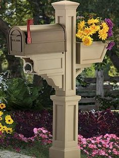 The Grandin Road Signature Plus Mail Post boasts a handsome combination of function and curbside appeal with it's decorative mail box complimented by a  small flower box to add color and character.
