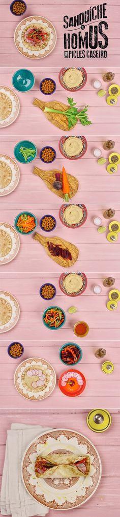 Sanduíche de homus com picles de legumes caseiro | Receita Panelinha: Saborosa, esta receita é uma homenagem para quem é bom de bico. E sem essa de lanchinho: o sanduíche de homus com picles de legumes caseiro pode ser servido como prato principal!