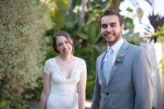 la jolla wedding - succulent bouquet, succulent boutineer, lace wedding dress, groom grey suit