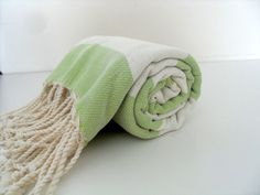 Turkish Towel Peshtemal Lime Green Sage by CottonBathTowels, $25.00