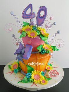 wonky 40th orange and pink flower cake