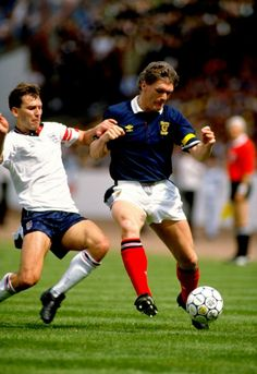Despite a reputation for ferocious tackling, Robson was only booked once for his country. Here he is battling Scotland captain Roy Aitken in the 1989 Rous Cup (a short-lived replacement for the old Home International Championship), which England won 2-0 at Hampden.
