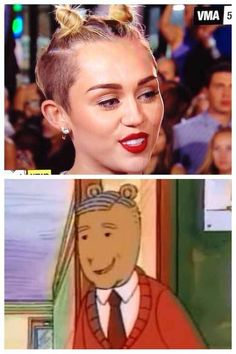A character from Arthur : 27 things miley Cyrus looked like at the VMAs. I think the cartoon from Arthur is Robert Munsch. Funny Memes, Hilarious, Jokes, Cartoon Memes, Miley Cyrus, Best Dating Apps, Facebook Humor, Comic, I Love To Laugh