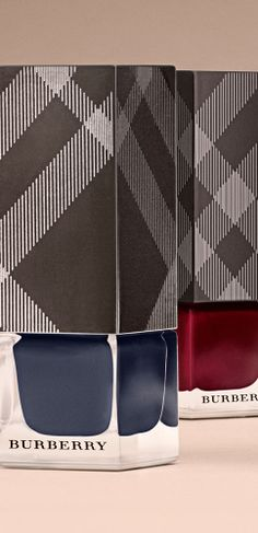 High-gloss shades of Ink Blue and Oxblood - discover the limited edition set of six runway shades from Burberry Nails for A/W14