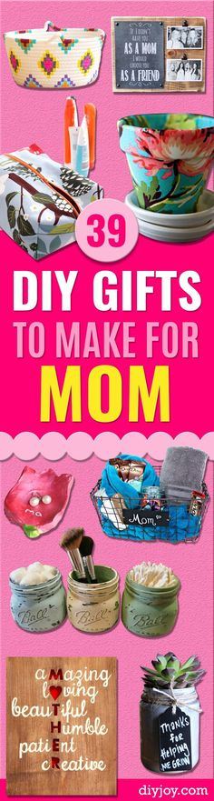 39 Creative DIY Gifts to Make for Mom DIY Gifts for Mom - Best Craft Projects and Gift Ideas You Can Make for Your Mother - Last Minute Presents for Birthday . Diy Gifts For Christmas, Christmas Mom, Diy Gifts To Make, Homemade Gifts, Diy Cadeau Noel, Mom Birthday Gift, 25th Birthday, Birthday Cakes, Mother Birthday