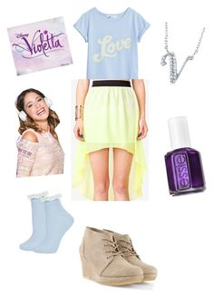 """""""violetta"""" by violettafan13 ❤ liked on Polyvore featuring H&M, Forever 21, Topshop, Clarks Originals, Disney, BERRICLE, Essie, women's clothing, women and female"""