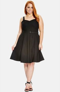 City Chic 'Buckle Up' Sleeveless Fit & Flare Sundress (Plus Size) available at #Nordstrom