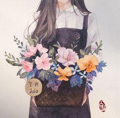 53 Super ideas for anime art watercolor Anime Girl Drawings, Anime Art Girl, Manga Art, Cute Drawings, Aesthetic Anime, Aesthetic Art, Desenhos Love, Jolie Photo, Art Sketchbook
