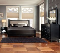 This bedroom set just exudes upscale and regal. The black finish makes it look extra sleek.