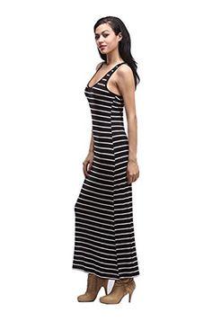 2238e98d99 2LUV Womens Sleeveless Striped Racerback Maxi Dress Black White L JD4806S      You can