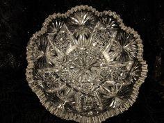 American Brilliant Cut Glass Centerpiece Fruit Bowl #Tortuga