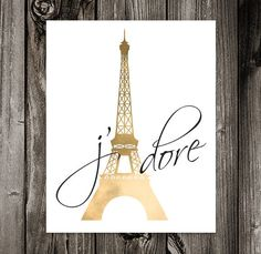Paris. Eiffel Tower. Gold Foil. DIY Poster Print. Art Print. Wall Art. 8x10  300 Dpi Jpg File By Off2market On Etsy