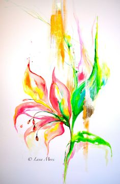 Floral 20 x 30 Large Watercolor - Original Abstract Painting - Color Me Pretty - Florida Lilly