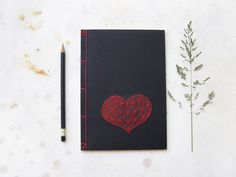 Heart. Hand Embroidered Japanese A5 Notebook. Red Love Journal. Valentines Notebook. Black Gift for Him. Amour Notepad. Mens Book