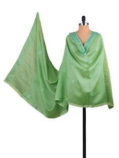 Buy Light Green Chanderi Phool Patti Chikankari Dupatta Accessories Dupattas Needle Narratives in Embroidery Online at Jaypore.com
