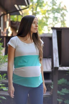 Men's tee into a striped maternity top tutorial