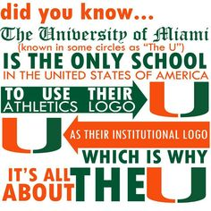 The University of Miami is the only school . because we set the trends! Miami Hurricanes Gear, University Of Miami Hurricanes, Hurricanes Football, Miami Football, College Football Teams, Football And Basketball, Sports Teams, Athletics Logo, Colleges In Florida
