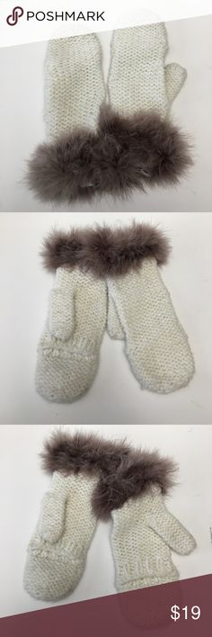 Knit Fingerless Mittens Gloves Furry Marabou Trim Cream Knit Fingerless Mittens Gloves Gray Furry Marabou Trim  Mitten top can be pulled back to be made fingerless. Super soft marabou trim. Made by Limited Edition. Knit is an acrylic cream color with gold threads. One size fits all.  Excellent condition with no signs of wear  Quick shipping! WE SHIP EITHER THE SAME BUSINESS DAY OR NEXT. ORDERS ON WEEKENDS ARE IN MAIL BY MONDAY MORNING. Accessories Gloves & Mittens