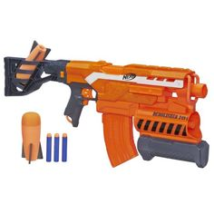 N-Strike Elite Demolisher from Hasbro The Nerf N-Strike Elite Demolisher Blaster launches 10 foam darts and two large foam missiles.The Nerf N-Strike Elite Demolisher Blaster launches 10 foam darts and two large foam missiles. Toys R Us, Toys For Boys, Kids Toys, Boy Toys, Nerf Gun Attachments, Arma Nerf, Pistola Nerf, Plantas Versus Zombies, Cool Nerf Guns