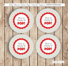 She's Ready to Pop Party Chevron Red Favor Tags by thespottedpixel