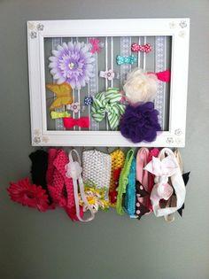 30 Fabulous DIY Organization Ideas for Girls.  Finally!  Hair frillies organizer!