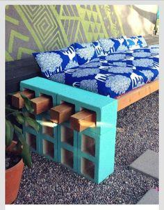 Outdoor DIY cement block bench