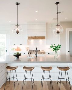Modern farmhouse kitchen island and hood with shiplap . Modern Farmhouse Kitchen Island and Venting Dome with Shiplap Source. Kitchen Interior, Kitchen Inspirations, Home Decor Kitchen, Kitchen Remodel, Kitchen Decor, Kitchen Island Decor, Farmhouse Kitchen Island, House Interior, Home Kitchens