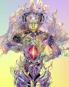 Bjork_Family_print_Yellow_s. Arte Cyberpunk, Techno, Bjork Digital, Pop Art, Elfa, Family Print, Futuristic Art, Bizarre, Trippy