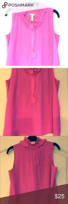 Jcrew Ruffle neck blouse Hot pink sleeveless blouse with button closure J. Crew Tops Blouses