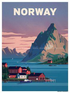 Norway Fjords Poster by IdeaStorm Studios Available for sale at ideastor. - Norway Fjords Poster by IdeaStorm Studios Available for sale at ideastorm. Retro Poster, Vintage Travel Posters, Poster Poster, Poster Wall, Norway Fjords, Svalbard Norway, Plakat Design, Tourism Poster, Photo Vintage