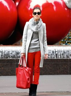 red pants with grey
