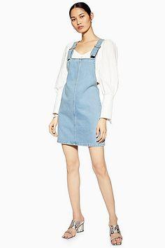 1361ffb5e4a Womens Petite Denim Pinafore Dress - Mid Stone