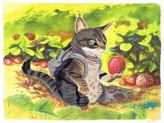 Strawberry Cat by Pocketowl.deviantart.com on @deviantART