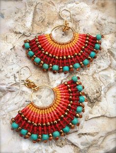 Fan shape macrame earrings with turquoise beads